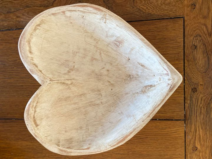 Large white heart wood bowl