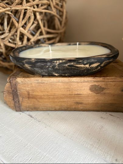 Black small wood bowl