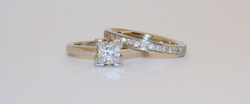 Simple Princess Bezel and Eternity Band