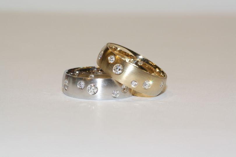 Splash of Diamonds Wedding Bands