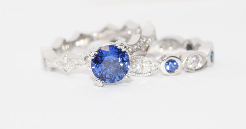 Sapphire Solitaire Pave Wedding Set