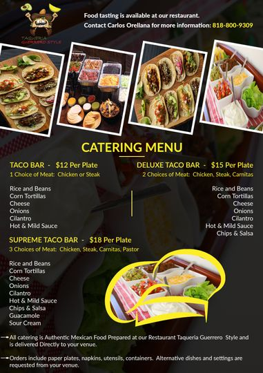 Pricing and Mexican Food Options for your wedding, event, or party