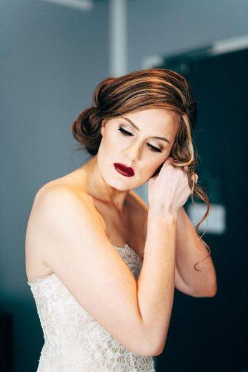 Bride with striking dark red lip