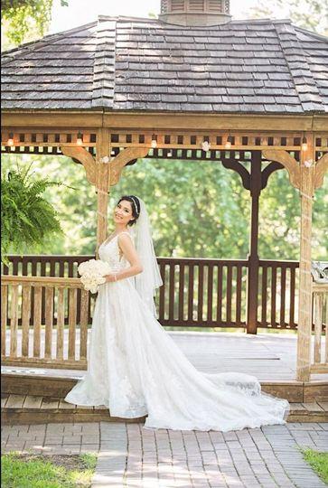 Bride by a gazebo