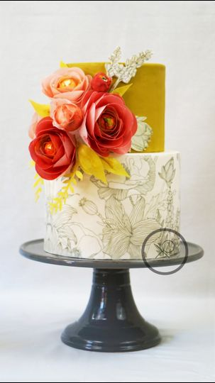 XO cakery | two tiered hand drawn wedding cake with hand made blooms