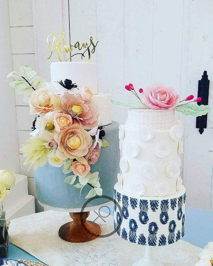 XO cakery | modern blue-boho wedding cakes with edible handmade waferpaper blooms