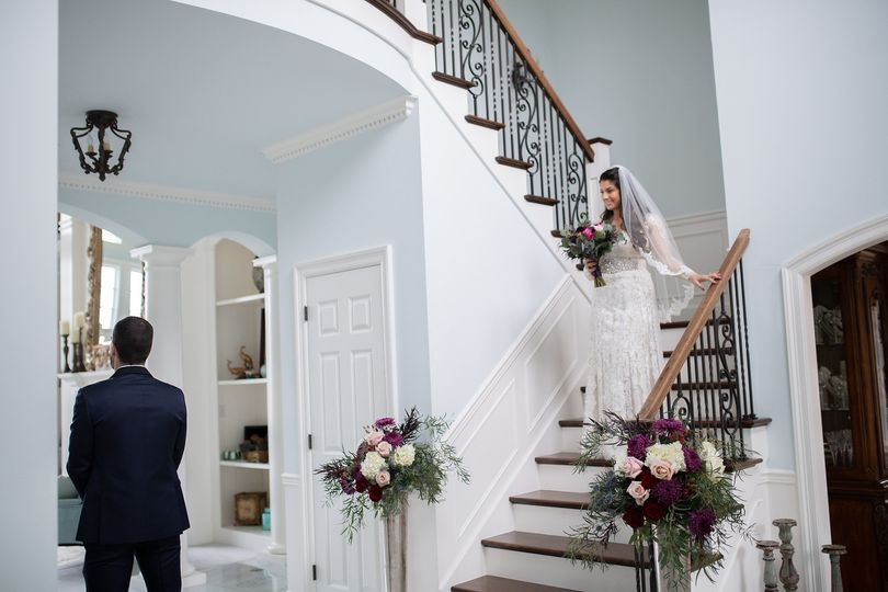 Charming staircase for first look