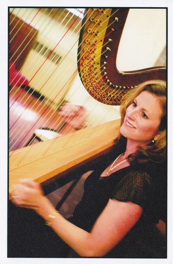Harpist performing