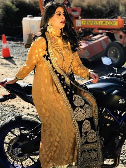 Bride on a motorbike
