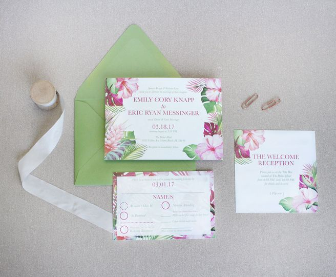 Tropical Theme Wedding Invite