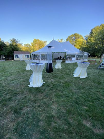 Tented wedding in backyard
