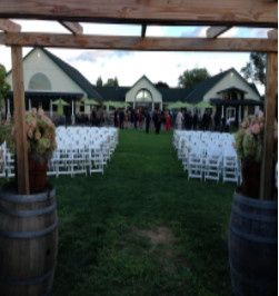The wedding ceremony setup