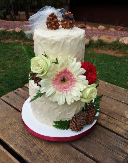 Textured Buttercream w/ Fresh Floral & Pinecones