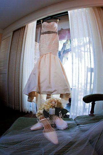 Wedding gown, wedding shoes, wedding jewelry
