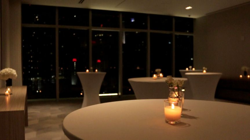 Cocktail Reception with Miami Downtown Skyline view