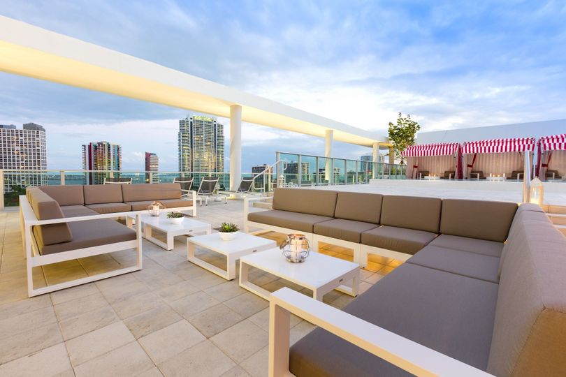 A rooftop lounging area