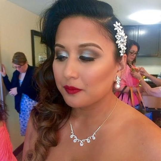 Bold red lip and silver eyeshadow