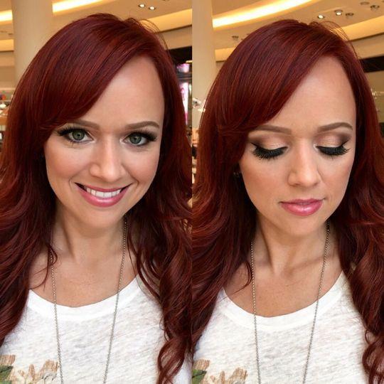 Pink lip and eye makeup
