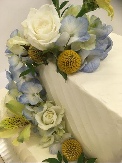 Blue floral wedding cake