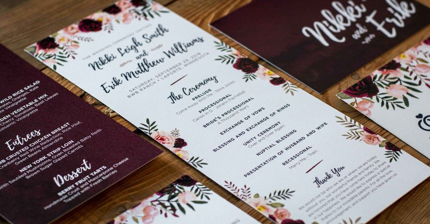 A designed stationery suite for a wedding