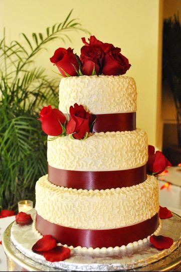 Ivory Rose Wedding Cake.