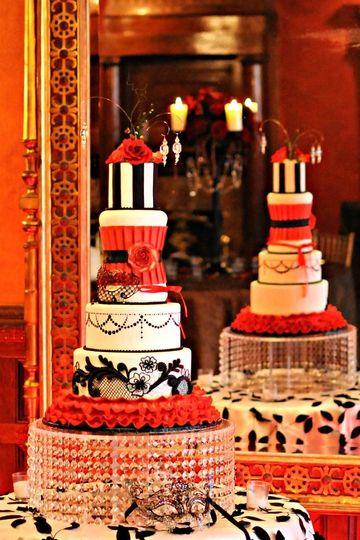 Red, Black and White Ruffle Wedding Cake.