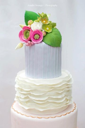 Spring Wedding Cake with Sugar Hydrangeas, Ranunculus and Roses...