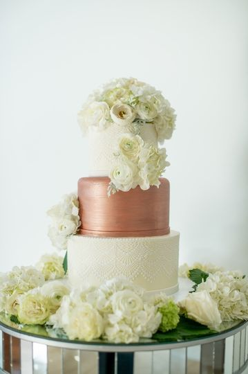 Rose gold and white cake
