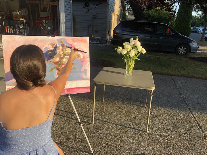 Live, en plein air painting