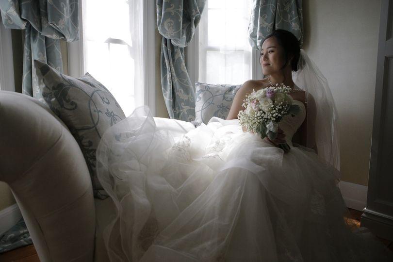 The bride contemplating