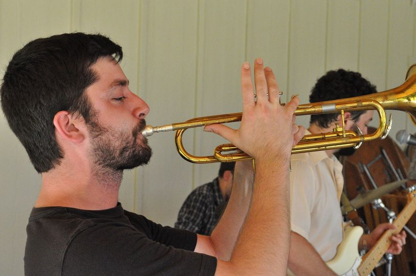 Sam Irvin playing the trumpet