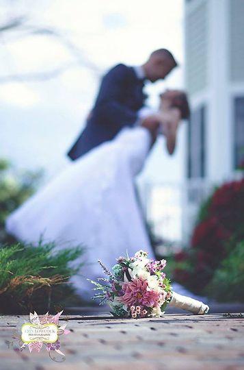 Bride dip kiss