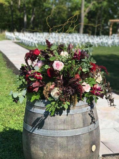 Barrel flower arrangement