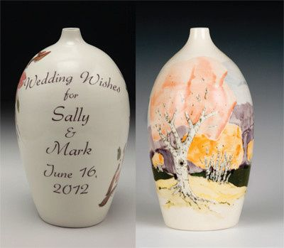 Wedding Wish Vase© hand formed and painted porcelain vase to receive your keepsake messages....