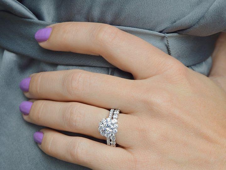 Tmx Halo Diamond Engagement Ring And Custom Floating Diamond Eternity Band By Ascot Diamonds 51 24719 Arlington wedding jewelry