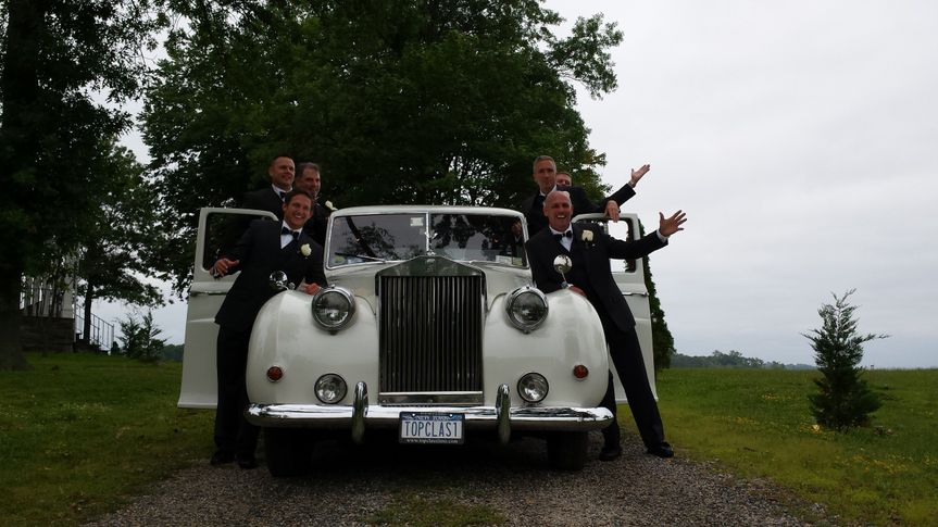 rolls princess with bridal party