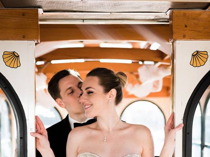 Tmx Bride And Groom On Trolley 51 106719 Yonkers, NY wedding transportation
