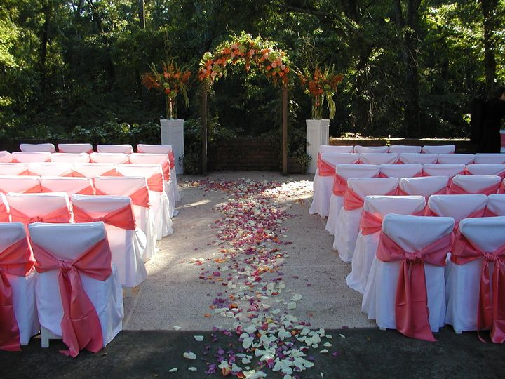 Pink and white chair arrangement