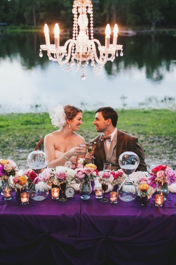Sweetheart table with chandelier