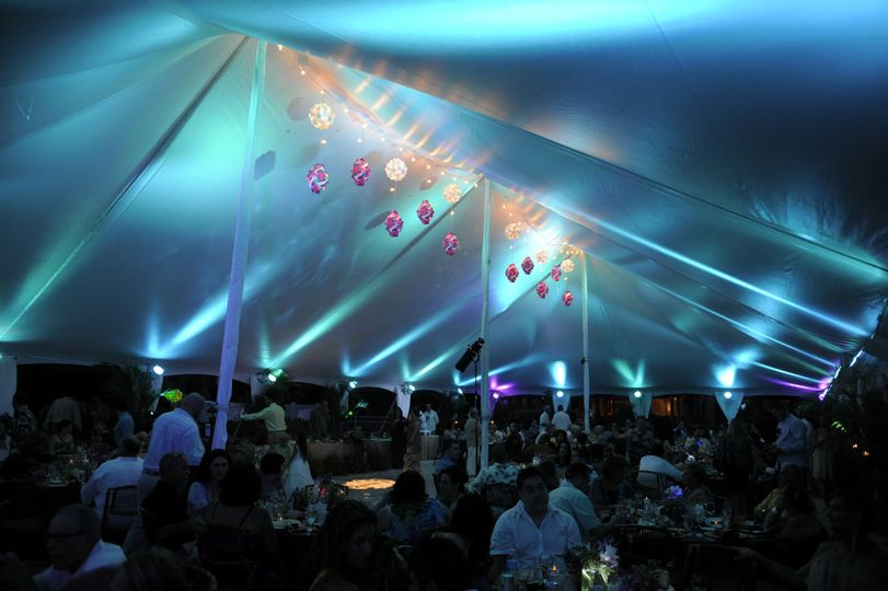 Blue reception tent lighting