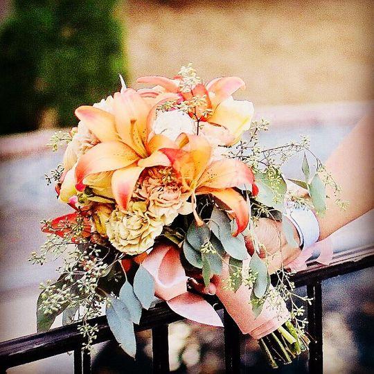 A romantic peach tone bouquet