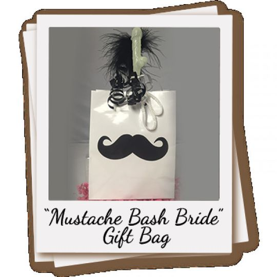 The Party Favor Bag for the Bride Contains:  1 Mustache Shot Glass 1 Buy Me a Shot I'm Tying the...