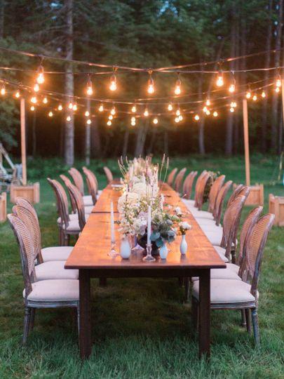 Hanging lights for reception