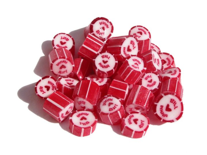 Red candy-striped sweets