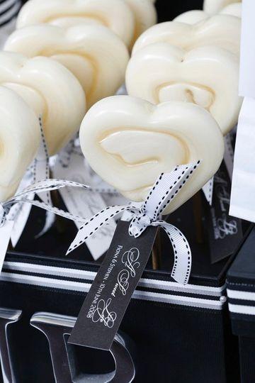 Custom white lollipops