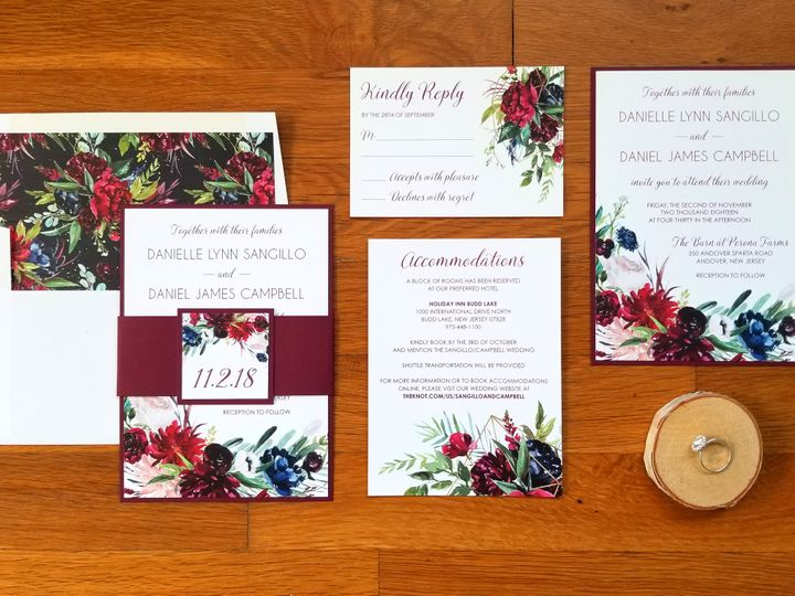 Tmx 03 Campbell Burgundyfloral 51 975819 Andover, NJ wedding invitation