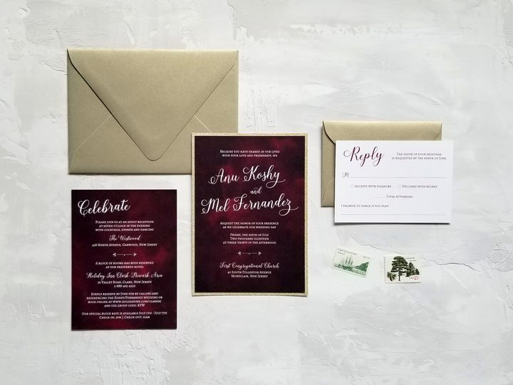 Tmx Burgundy Watercolorglam 51 975819 V1 Andover, NJ wedding invitation