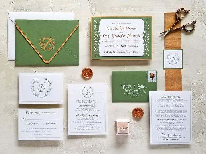 Tmx Zebrowski Laurellaserandwood Invitationsuite 51 975819 V1 Andover, NJ wedding invitation