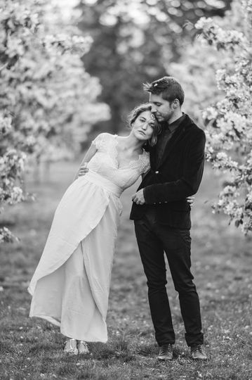 Engagement shoot in orchards