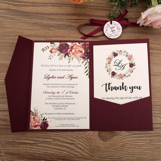 Pocket Invitation - Burgundy